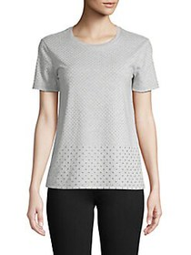 MICHAEL Michael Kors Embellished Cotton Top PEARL