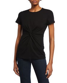 Neiman Marcus Short-Sleeve Knotted-Front Tee