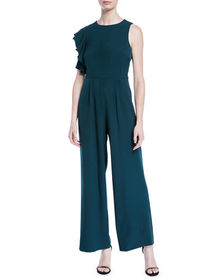 Julia Jordan Ruffle-Shoulder Crepe Wide-Leg Jumpsu
