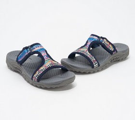 """As Is"" Skechers Sequin T-Strap Slide Sandals - Re"