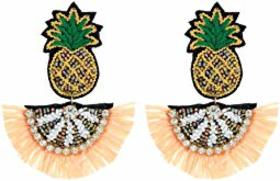 """Kenneth Jay Lane 2.5"""" Pineapple Top with Beaded Fa"""