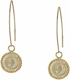 """Kenneth Jay Lane 2 3/4"""" Gold Wire with Coin Drop P"""