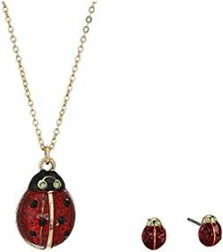 Betsey Johnson Lady Bug Earrings and Necklace Set