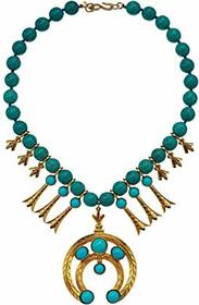 Kenneth Jay Lane Gold with Turquoise Beads Necklac