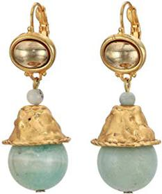 Kenneth Jay Lane Satin Gold Top/Amazonite Bead Dro