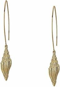 """Kenneth Jay Lane 3"""" Gold Wire with Seashell Drop P"""