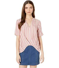 BCBGeneration Pleat Front Short Sleeve Woven Top