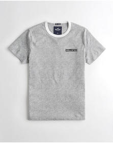 Hollister Embroidered Logo Graphic Tee, HEATHER GR