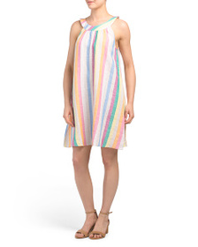C&C CALIFORNIA Striped Linen Halter Swing Dress