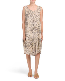 LUNGO L'ARNO Made In Italy Animal Print Linen Dres
