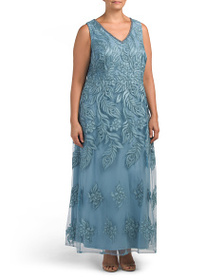 BRIANNA Plus V-neck Embroidered Gown