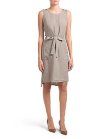 TERZO MILLENIO Made In Italy Linen Tie Dress With