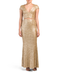 DRESS THE POPULATION Made In Usa 2pc Cara Sequin D