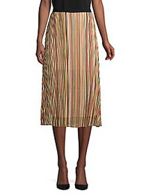 T Tahari Pleated A-Line Midi Skirt STRIPE