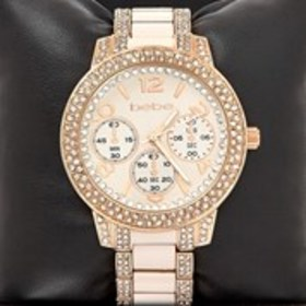 BEBE Bebe Womens Gold Round Crystal Bezel Watch