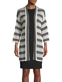 JONES NEW YORK Long Striped Open Cardigan GREY MUL