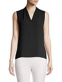 T Tahari V-Neck Sleeveless Top BLACK