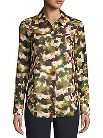 T Tahari Printed Chiffon Button Blouse MULTI