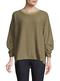 JONES NEW YORK Pleated-Sleeve Pullover Top ARMY