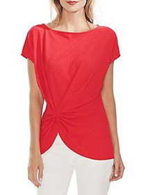 Vince Camuto Modern Rouge Twist Crepe Top CRIMSON