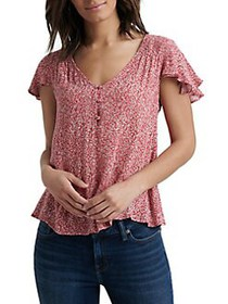 Lucky Brand Floral-Print High-Low Top PINK