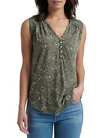 Lucky Brand Lace-Trimmed Cotton Blend Top GREEN
