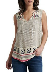 Lucky Brand Printed V-Neck Top NATURAL MULTI