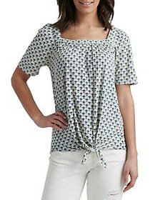Lucky Brand Tie-Front Cotton-Blend Top BLUE MULTI