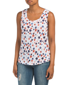 C&C CALIFORNIA Linen Printed Tank With Side Slits