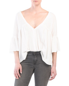 FREE PEOPLE Sweet Little Button Front Tee