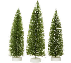 """As Is"" Set of 3 Graduated Bottlebrush Trees by Va"