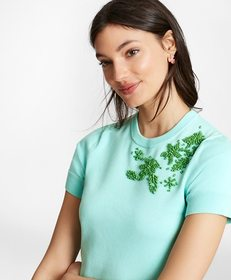 Brooks Brothers Floral-Beaded Cotton Short-Sleeve