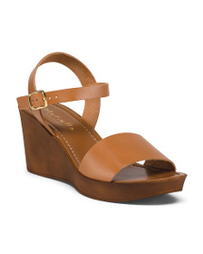 MARIELLA Made In Italy Mid Wood Wedge Leather Sand