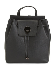 L CREDI Made In Italy Leather Drawstring Backpack