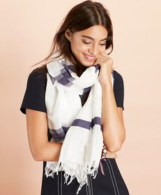 Brooks Brothers Striped Linen-Cotton Scarf