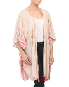 ACCESSORY ST. Embroidered Tie Front Caftan