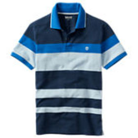 Timberland Men's Slim Fit Bright Blue Striped Polo