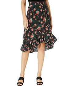 Juicy Couture Faded Floral Silk Skirt
