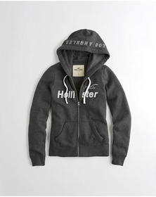 Hollister Full-Zip Graphic Hoodie, Dark Heather Gr