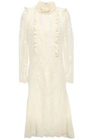 ANNA SUI Ruffle-trimmed broderie anglaise dress