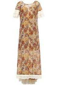 ANNA SUI Broderie anglaise-trimmed printed cotton