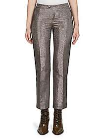 Chloé Lame Mid-Rise Trousers GREYISH BROWN