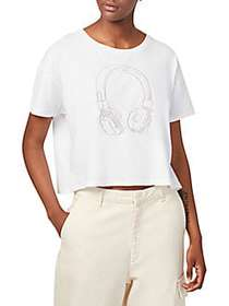 French Connection Headphones Embroidery Crop Tee W