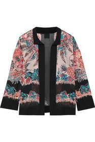 ANNA SUI Crepe-trimmed printed silk-chiffon jacket