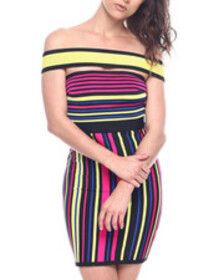 Wow Couture off shoulder strap stripe dress