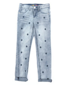 Lee polka dot embroidery convertible skinny jeans