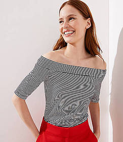 Striped Elbow Sleeve Off The Shoulder Tee