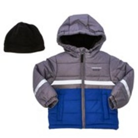 LONDON FOG Boys Two-Tone Hooded Puffer Coat with B