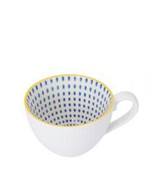 Pfaltzgraff White Geometric Blue Dot Mug