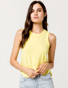 FULL TILT Shirt Tail Neon Yellow Womens Tank Top_